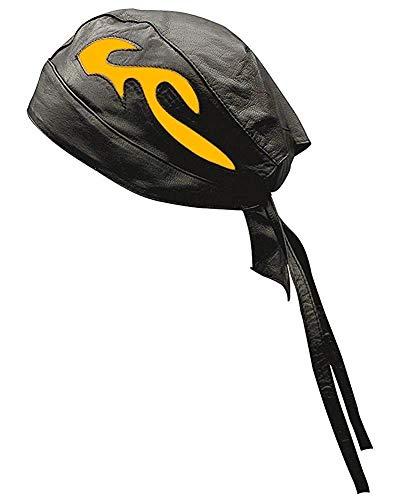 Unisex Camel - Riparo Unisex Leather Motorcycle Head Wrap Skull Cap (Black/Camel)