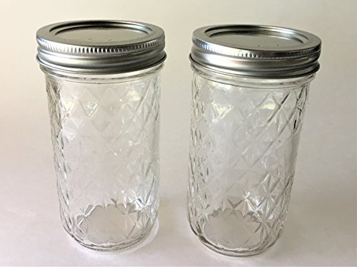 Mason Ball Jelly Jars-12 oz. each - Quilted Crystal Style-Set of 2 (Ball Mason Jars 12 Oz)