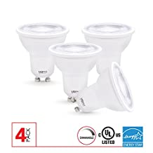 GU10 Dimmable LED Bulb, 6W (50W equivalent), 4000k, 400 Lumens, CRI 80, 4 Pack, UL, ES Certified