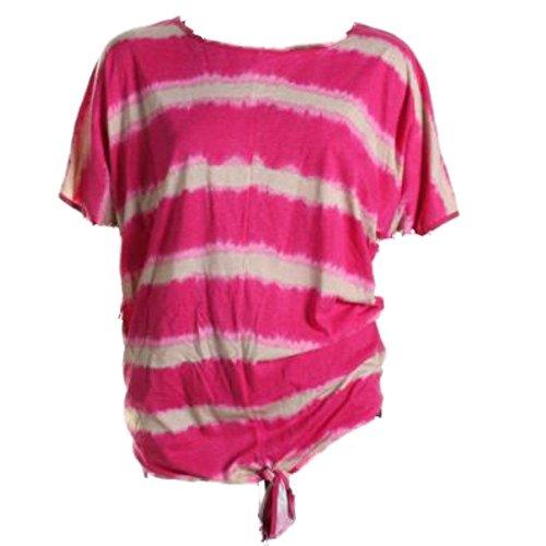 Grace Elements Women's Plus Size Tie Dye Pullover Top (2X, Pink Glow/Khaki)