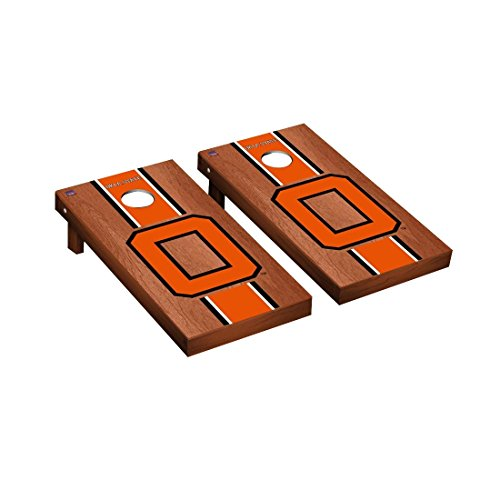 College Vault Oklahoma State University Cowboys Cornhole Game Set Rosewood Stained Stipe Version