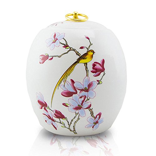 Floral Urn - Golden Bird Ceramic Urn - Adult White Ceramic -