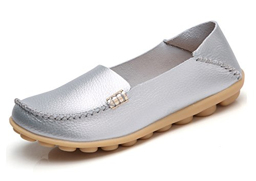 VenusCelia Women's Natural Comfort Walking Flat Loafer(10 M US,Silver) (Comfort Leather Loafer)