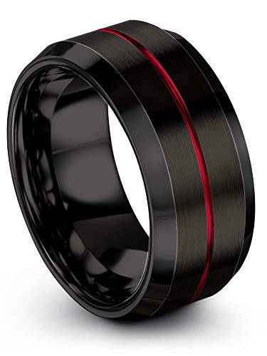 Chroma Color Collection Tungsten Wedding Band Ring 10mm for Men Women Black Interior Red Center Line Bevel Edge Brushed Polished Size 9.5