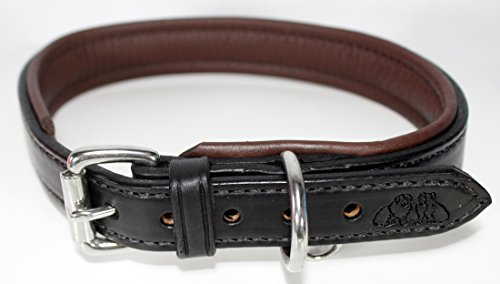 2 Red Dogs 18 - Black/Chocolate Brown Genuine Leather Dog Collar with Soft Pebble Leather Lining, Made in USA Beautiful Padded Harness Luxury Dog Collar, Fits 15-17