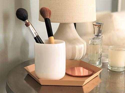White Marble Jar with Rose Gold Lid   Real Marble Vanity Jar for Q-tips, Cotton Pads, Cosmetics, Make-up Brushes   Rose Gold Metal Lid   Marble Rose Gold Pen Holder   Small Round Bowl Candle Holder