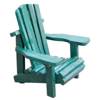 "WD Wood Miniature Small Adirondack Chair with Green Weathered Look 4"": Home & Kitchen"