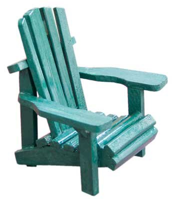 Wood Miniature Small Adirondack Chair With Green Weathered Look 4u0026quot;