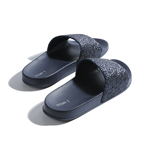 FITORY with Flats Support Glitter Slippers Slides Sparkly Sandals Slip for Summer Women Blue Navy Arch Bling on CqwrCfF