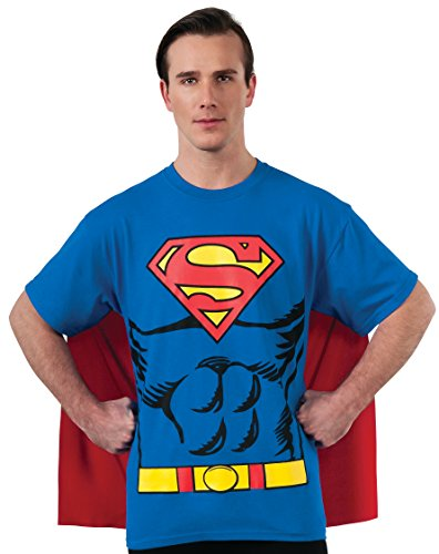 DC Comics Superman Costume T-Shirt With Cape, Blue, Large - Super Hero Costumes For Adults