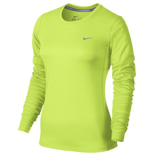 Nike Women's Dri-FIT Miler L/S Running Top, Volt/Reflective Silver, XS (Nike Miler Long Sleeve)