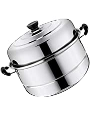 TOPBATHY Stainless Steel Double Tier Steamer Pot Steaming Stockpot Cookware Multifunctional Stockpot Steam Soup Pot 28cm