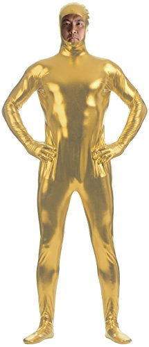 Marvoll Unisex Shiny Metallic Face Out Zentai Bodysuits for Kids and Adults (Large, Light Gold)