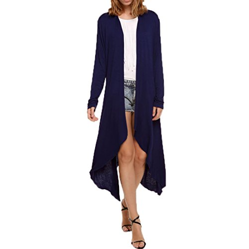 FCYOSO Women's Long Sleeve Waterfall Asymmetric Long Cardigan (US,XL/Asia,2XL) Navy (Sahalie Cardigan)