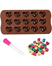 wotu Heart Silicone Mould + Dropper, 15 Hearts Silicon Food Moulds Silicone Heart Moulds for Wax MeltsCandy Molds Chocolate Molds DIY Wax Melt Moulds for Baking Accessories Cake Decoration