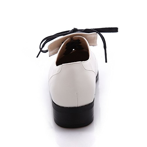 AmoonyFashion Toe Pu Color Round Heels Low Assorted Lace Up White Pumps Closed Womens Shoes rfAvHr