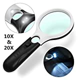 LED Magnifying Glass,Gemwon 20X + 10X Illuminated 2 Lens Set Mini Handheld Pocket Best Magnifier with Lights for Seniors Reading,Map,Jewelry,Crafts,Office,Stamps,Inspection,Macular Degeneration,Hobby