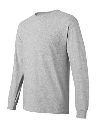 Hanes Men's Tagless Long Sleeve T-Shirt with a Pocket - Small - Light Steel