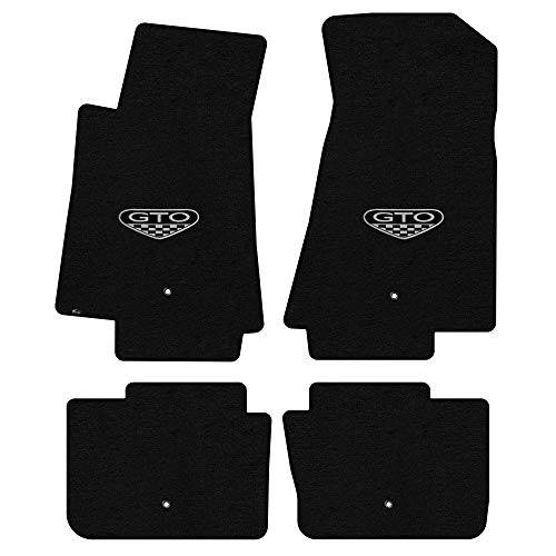Lloyd Mats LogoMat Custom Floor Mats - Pontiac GTO 2005-2006 4Pc Front & Back Set Carpeted Custom Fit Mats, Black - Fits Model Years 2005, 2006.