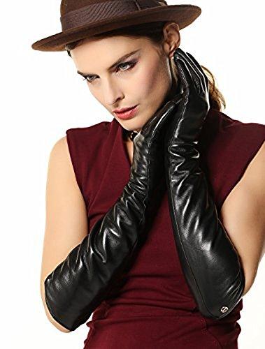 チャールズキージングメイエラみがきますスーパー暖かいロングフリース裏地付きロングラグジュアリーイタリアナッパ革冬手袋