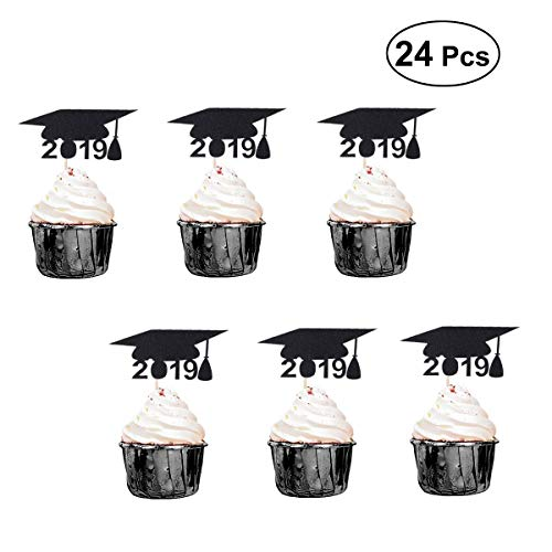 Creaides Black Glitter 2019 Graduation Cap Cake Topper Cupcake Picks DIY Cake Decoration Graduation Party Suppliers Pack - Toppers For Cupcake Picks Wood