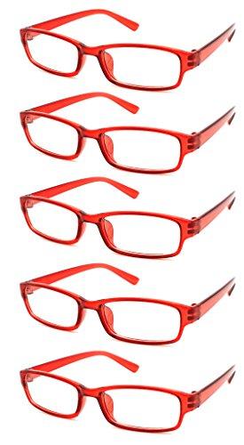 The 0 5 00 1 00 Avec Company 75 1 Étui Reading Designer Womens Glasses Pochette Mens 5 0 5 50 Pack 2 Slim Lecteurs Value Confortables Transparent Red Style 00 2 4 Légers 4sold Et 3 5 A1q5x