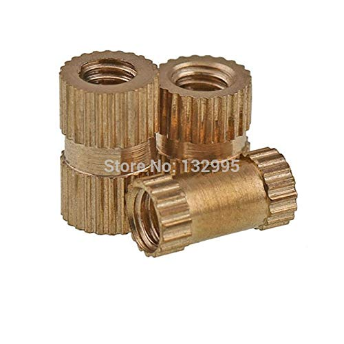 Nuts 200pcs M3L Type A Brass Insert Nut/Through Hole Type,Embedded Injection Moulding Brass Knurled Round Nut - (Size: M3 x 20 x 5.3)