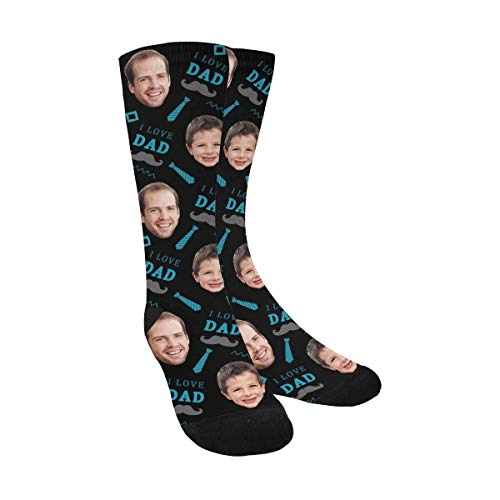 Custom Face on Socks, I love Dad Beard and Necktie Socks with Personalized Faces on Them Black