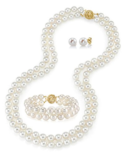 THE PEARL SOURCE 14K Gold 8-9mm AAAA Quality Round White Freshwater Cultured Pearl Double Strand Necklace, Bracelet & Earrings Set in 17