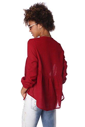 Q2 Mujer Blusa casual de lino con detalle de pinza marsala