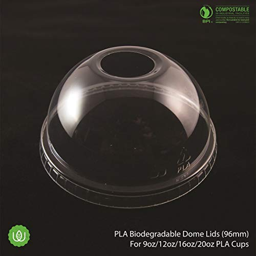 ([150 Pack] Compostable Eco-Friendly PLA Biodegradable DOME Lids (96mm) by Walvis Eco)