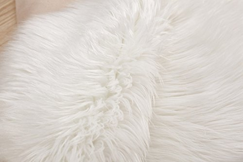 HUAHOO White Faux Sheepskin Area Rug Chair Cover Seat Pad Plain Shaggy Area Rugs for Bedroom Sofa Floor Ivory White 5 x 8 Livingroom Rug