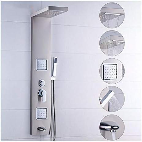 WSZLSD Sistemas de Ducha 304 de Acero Inoxidable para Lluvia, Agua automática, Masaje, Spray, Juego de mampara para Ducha Dividida cepillada Juego de Ducha con Interruptor de Cinco velocidades: Amazon.es: Hogar
