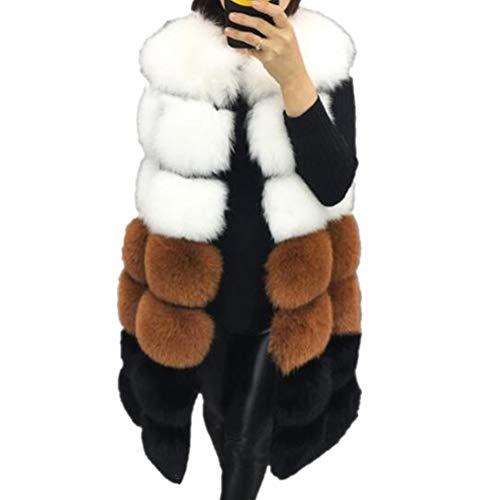 Lisa Colly Winter Women's Fur Vest Coat Warm Long Vests Fur Vests Women Faux Fur Vest Coat Outerwear Jacket (2XL, Camel)