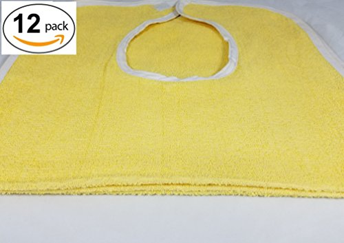 Deluxe Adult Terry Cloth BIBS W/ VELCRO CLOSURE - 12PK YELLOW