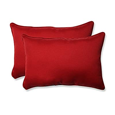 Pillow Perfect Decorative Red Solid Toss Pillow Rectangle, 2-Pack - Includes two (2) outdoor pillows, resists weather and fading in sunlight; Suitable for indoor and outdoor use Plush Fill - 100-percent polyester fiber filling Edges of outdoor pillows are trimmed with matching fabric and cord to sit perfectly on your outdoor patio furniture - patio, outdoor-throw-pillows, outdoor-decor - 41Z2Uh5X6GL. SS400  -