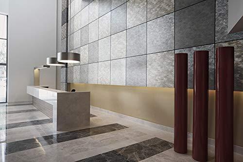 Panel de pared aspecto metal WallFace 20190 OXIDIZED Titan AR liso Revestimiento mural diseño vintage brillante autoadhesivo resistente a la abrasión plata ...