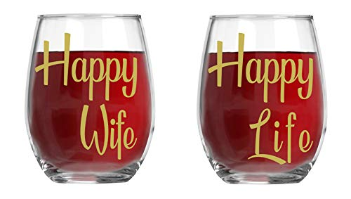 Happy Wife, Happy Life - 15oz Crystal Wine Glasses - Couples Stemless Wine Glasses - His And Hers Gifts Ideas For Anniversary, Weddings, Bridal Showers