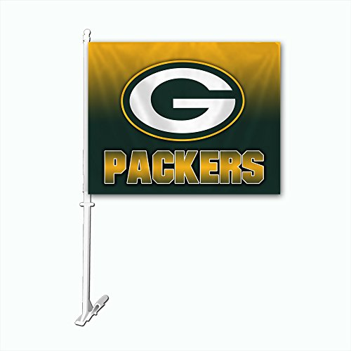 NFL Green Bay Packers Car Flag with Wall Bracket, Team Color