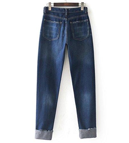 Jeans Alta A Denim Dritta Blu Donna Vita Perlina Wanyang Scuro Decorazione Pantaloni Boyfriend Gamba 6vdw6q