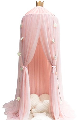 Aminiture Kids Baby Princess Mosquito Net Bed Canopy with Round Lace Dome Children Playing Reading canopy Tent Netting Curtains from Aminiture