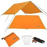 HSAP Multi Function Camping Sunshade Tent Picnic Mat Waterproof Camping Tarp For Picnic Tent Foorprint (M, Orange)