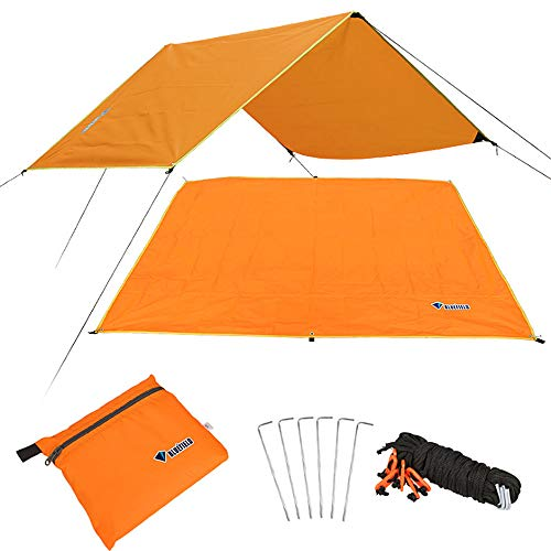 HSAP Multi Function Camping Sunshade Tent Picnic Mat Waterproof Camping Tarp For Picnic Tent Foorprint (M, Orange) by HSAP