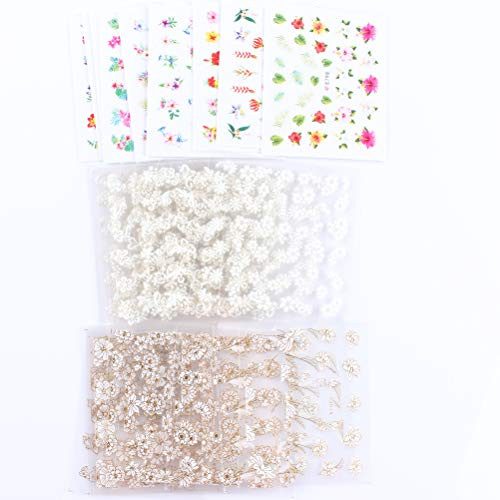 (MZCMSL 3D Flower Nail Art Stickers Adhesive (Color/White and Rhinestone/White and Gold Metal) Flowers Nail Decals Stickers,35 Sheets)