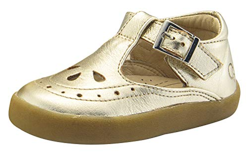 Old Soles Girl's Royal Shoe Leather Mary Jane Dress Shoes (Gold, 22 M EU/6 M US Toddler)