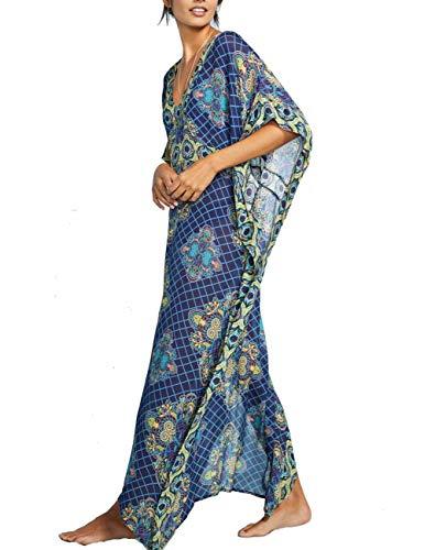 FINCATI Bohemian Dress Checked Printed Turkish Ethnic Kaftan Beach Dresses Robe Gown (297)