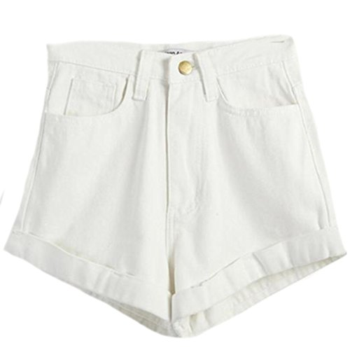 Women Elastic High Waist Lace Shorts White - 2