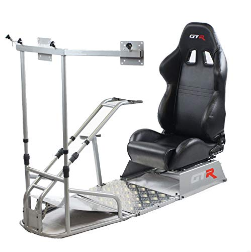 GTR Simulator Gtsf Model with Real Racing Seat, Driving Simulator Cockpit with Gear Shifter Mount and Triple or Single Monitor Mount