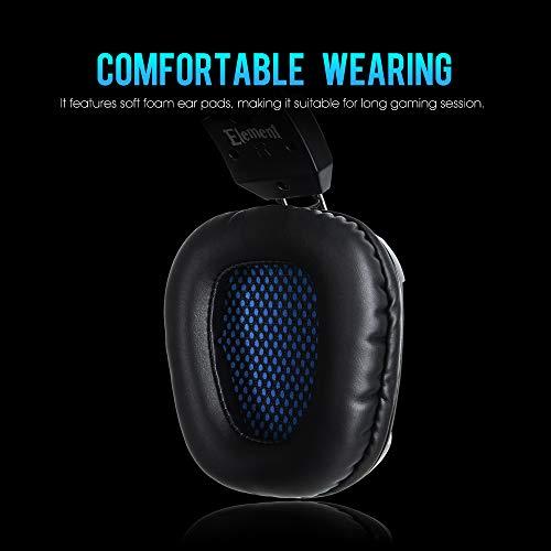 SADES Gaming Headset Element: Stepless Headband Adjustment, Flexible Microphone, Soft Earmuffs & Cool Lights on Ear Cups