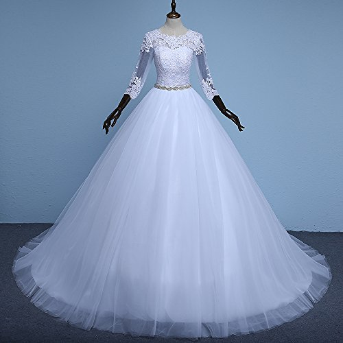 80%OFF SHDRESS White Vintage Long Sleeve Lace Ball Gown Wedding ...